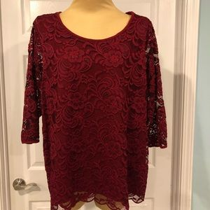 Roz & Ali Lace Top in Women's 3X, lovely deep red